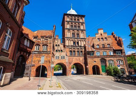 Burgtor Or Burg Tor Gate Is A Gothic Style City Gate Of Lubeck City In Germany