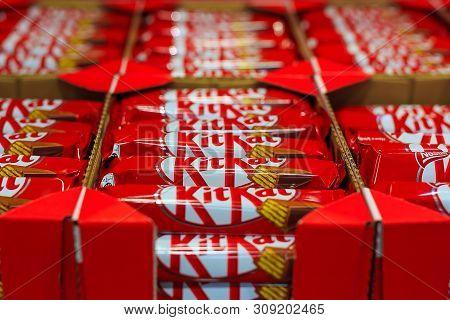 Almaty, Kazakhstan - June 19, 2019 - Product Of Nestle, Kit Kat Wafer Fingers In Milk Chocolate In S