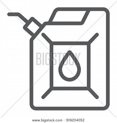 Jerrycan Line Icon, Canister And Container, Fuel Tank Sign, Vector Graphics, A Linear Pattern On A W