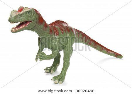 Toy Tyrannosaurus Rex coming to eat you on white background