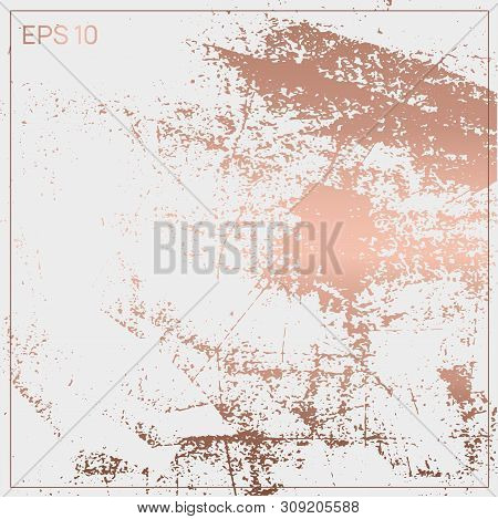 Gold Metallic Glossy Texture. Rose Quartz Pattern. Abstract Shiny Background. Luxury Sparkling Backg