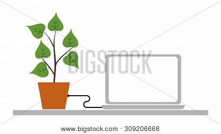 Nature And Technology - Information Sharing. Vector Illustration.