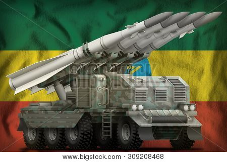 Tactical Short Range Ballistic Missile With Arctic Camouflage On The Ethiopia Flag Background. 3d Il