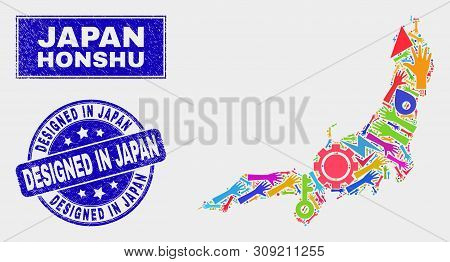 Mosaic Service Honshu Island Map And Designed In Japan Seal. Honshu Island Map Collage Constructed W