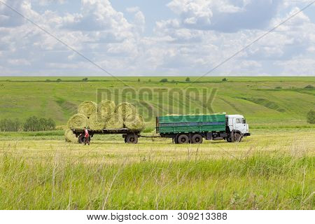 Loading Hay Rolls Into An Agricultural Truck Trailer. Preparation Of Feed For Farm Animals, Haymakin