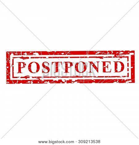 Ector 1 Red Grunge Rubber Stamp Effect, Postponed At Transparent Effect Background.