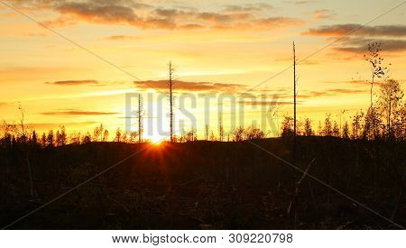 Warm Colored Image Of Sunset In Sweden