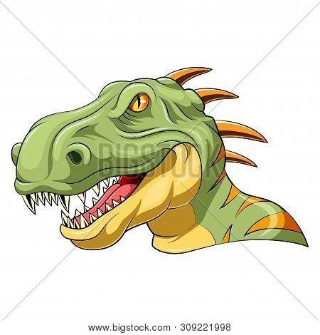 Illustration Of A Cartoon Velociraptor Head Mascot