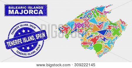 Mosaic Tools Majorca Map And Tenerife Island, Spain Watermark. Majorca Map Collage Made With Random