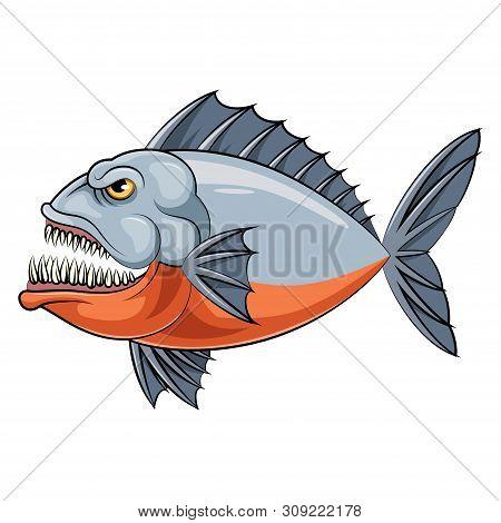 Illustration Of A Cartoon Mascot Fish Of An Piranha