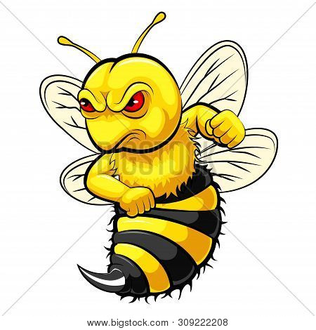 A Cartoon Angry Bee Mascot With White Background