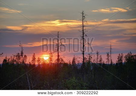Hdr Image Of Colorful Sunset In Northern Sweden.