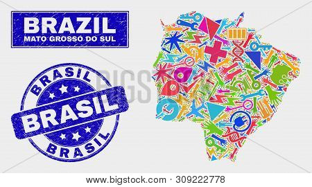 Mosaic Industrial Mato Grosso Do Sul State Map And Brasil Seal Stamp. Mato Grosso Do Sul State Map C
