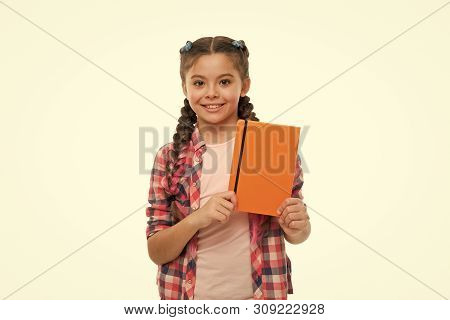 Child Cute Girl Hold Notepad Or Diary Isolated On White Background. Diary Writing For Children. Chil