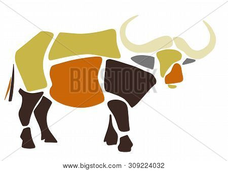 African Buffalo. Wild Savanna Animal. Contemporary Paper Cut Style. Hand Drawn Cartoon. Colorful Abs