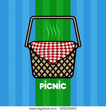 Picnic Poster With A Basket And A Picnic Napkin - Vector