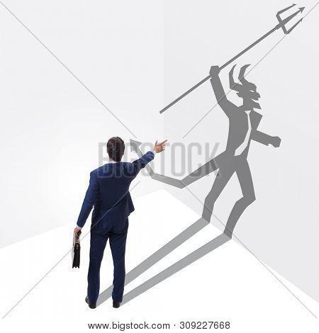 Devil hiding in the businessman - alter ego concept
