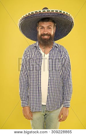 Costume Accesory. Bearded Man In Mexican Hat. Mexican Man Wearing Sombrero. Hipster In Wide Brim Hat