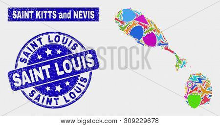 Mosaic Industrial Saint Kitts And Nevis Map And Saint Louis Seal Stamp. Saint Kitts And Nevis Map Co