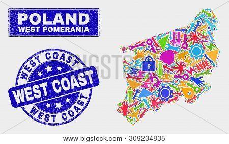 Mosaic Tools West Pomeranian Voivodeship Map And West Coast Stamp. West Pomeranian Voivodeship Map C