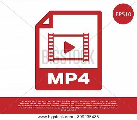 Red Mp4 File Document Icon. Download Mp4 Button Icon Isolated On White Background. Mp4 File Symbol.