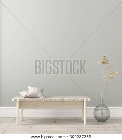 Wall Mock In Living Room Interior. Interior Scandinavian Style. 3d Illustration