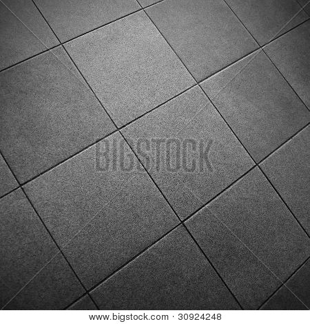 Gray Square Tile Floor Details in Black and White poster