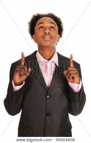 Black business man pointing up isolated over white background