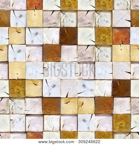 Decoration wooden blocks. Seamless texture of wooden blocks in collage background. Paneling pattern seamless background. Design ecological wall. poster