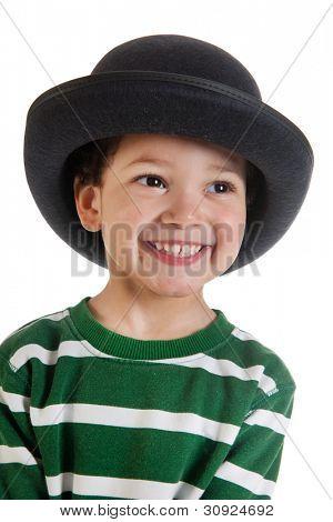 Portrait of a little boy with black hat