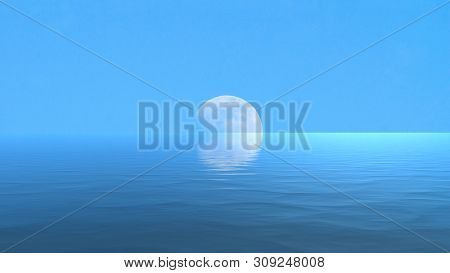 Moon Over The Blue Wide Sea With Reflectiuon