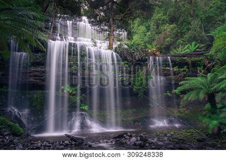 Beautiful Waterfall In Tropical Forest, Nature Background. Russel Falls In Tasmania, Australia