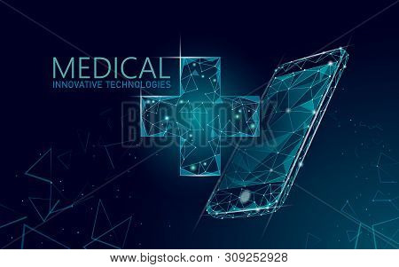 Medical Cross Symbol Doctor Online Concept. Medical Consultation App. Web Healthcare Diagnosis Geome