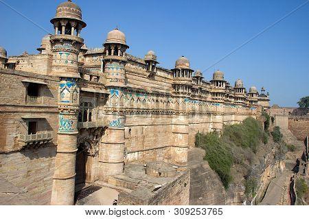 Vew Of Exterior Wall Of Gwalior Fort Against Blue Sky, Gwalior, Madhya Pradesh, India, Asia