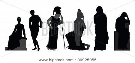 Ancient statue silhouettes
