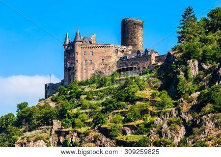 Katz Castle Or Burg Katz Is A Castle Ruin Above The St. Goarshausen Town In Rhineland-palatinate Reg