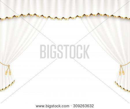 White Curtain Vector Realistic Illustration For Promotion Poster