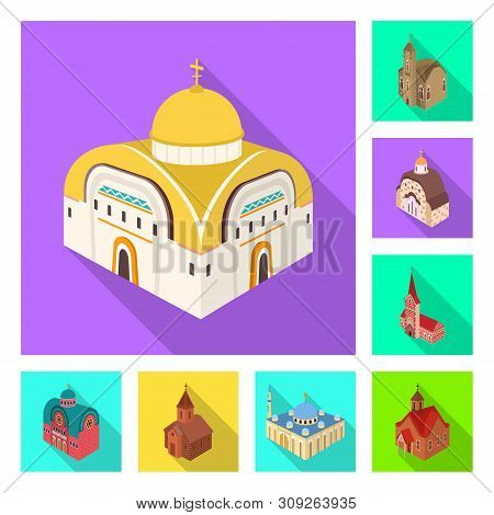 Isolated Object Of Temple And Historic Symbol. Set Of Temple And Faith Stock Vector Illustration.