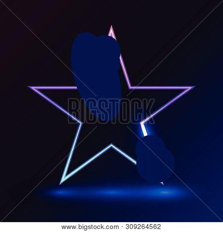 Star Pink Blue Light On Dark Background Vector Illustration For Promotion And Event Element.