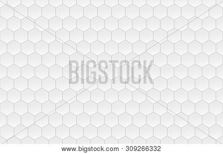 Hexagon Seamless Pattern. White Honeycomb On Gray Background. Golf Texture.