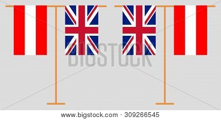 Austria and UK. The Austrian and British vertical flags. Official colors. Correct proportion. Vector illustration poster