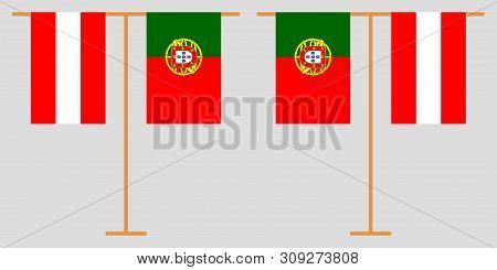 Austria and Portugal. The Austrian and Portuguese vertical flags. Official colors. Correct proportion. Vector illustration poster