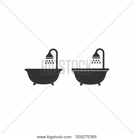 Bath Tub And Shower Head Black Vector Icon. Shower With Water Drops, Sign For Bathroom Or Washroom G