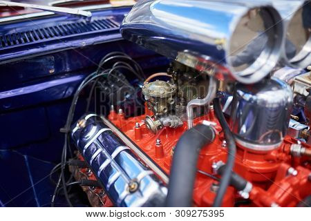 Chrome Supercharger And Engine, On An Old Car. Any Purpose