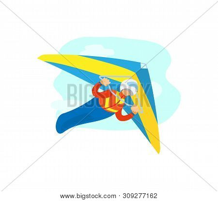 Hang Gliding Poster, Portrait View Of Man Wearing Helmet And Suit Gliding With Special Flying Equipm