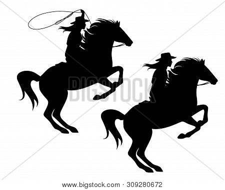Cowgirl Riding A Horse And Throwing Lasso - Rearing Up Stallion And Woman Cowboy Black Vector Silhou