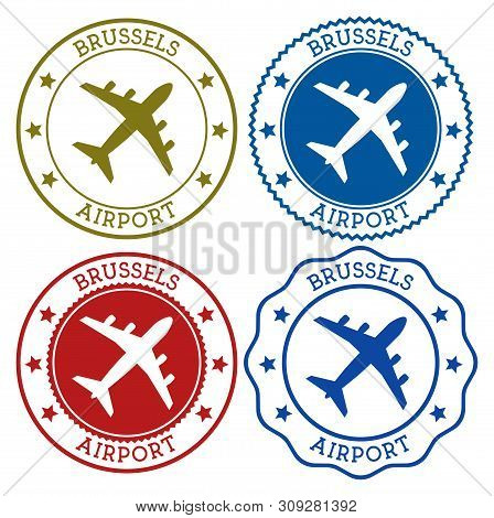 Brussels Airport. Brussels Airport Logo. Flat Stamps In Material Color Palette. Vector Illustration.