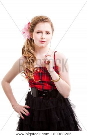 Attractive Young Girl Wearing Red And Black On Isolated White