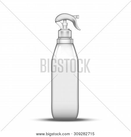 Plastic Atomizer Bottle Pulverization Water Vector. Transparent Glass Bottle Spray Lance With Trigge