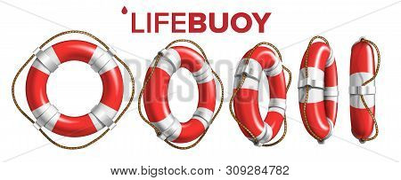 Boat Lifebuoy Ring In Different View Set Vector. Collection Of Red And White Colored Lifebuoy. Class